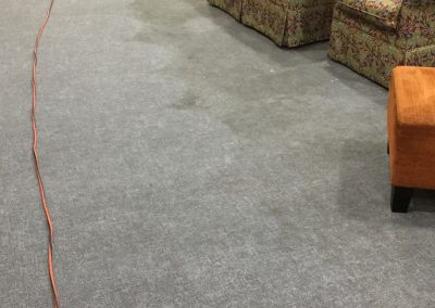 Carpet cleaning in progress in a Pospect client's living room